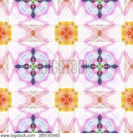 Aztec Rugs. Repeat Tie Dye Ornament. Ikat Japanese Print. Blue, White, Indigo, Denim Seamless Textur
