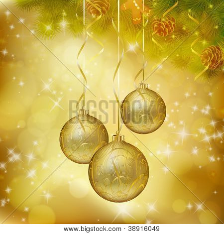 Golden Christmas balls on abstract gold background. Vector eps10 illustration