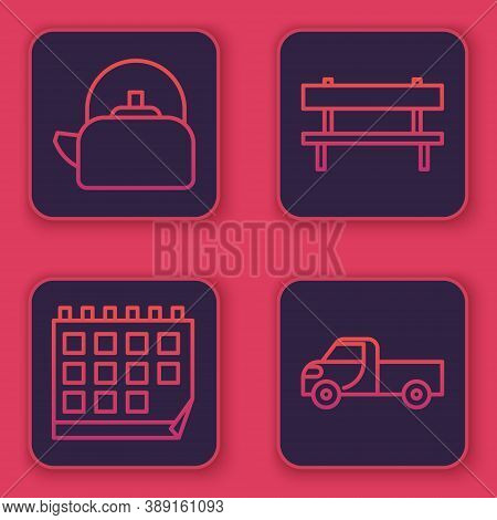 Set Line Kettle With Handle, Calendar, Bench And Pickup Truck. Blue Square Button. Vector