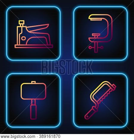 Set Line Hacksaw, Sledgehammer, Construction Stapler And Clamp And Screw Tool. Gradient Color Icons.
