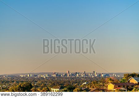 Adelaide City Skyline Viewed From The Hills At Sunset, South Australia