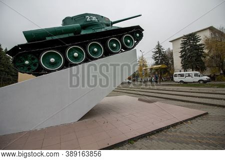 Mineralnye Vody, Russia. 11/14/2017. T-34 Tank Is On A Pedestal In The Center Of The City With The I