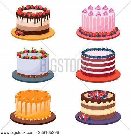 Set Of Birthday Cakes On White Background, Vector Illustration
