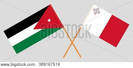 Crossed Flags Of Jordan And Malta. Official Colors. Correct Proportion. Vector Illustration