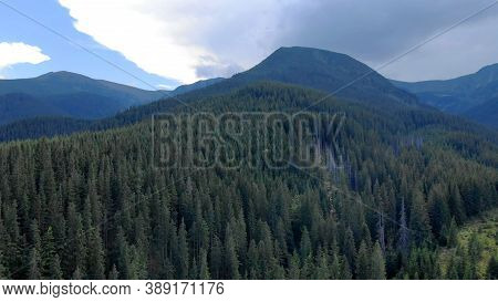 Topview Of Forests In Mountains. Beautiful Panorama Of Mountains.