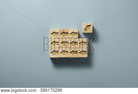 One Of Arrow Move To Opposite Direction With Others Arrow Which Carved On Wooden Block Cubes For  Bu