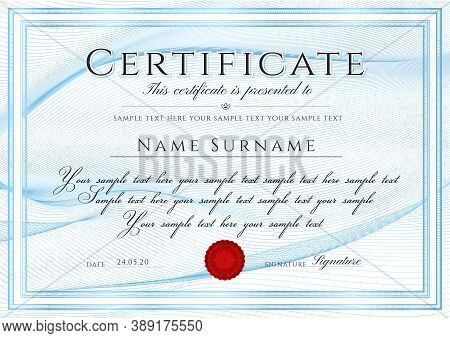 Certificate Template With Guilloche Line Pattern, Frame Border And Red Wax Seal (medal). Blue Backgr