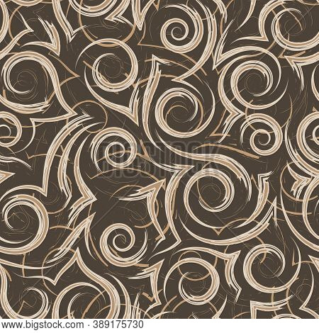 Seamless Beige Vector Pattern Of Flowing Lines And Spirals On A Brown Background.texture For Fabric