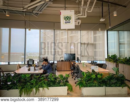 Bangkok, Thailand - June 2020 : Area Of True Digital Park Co-working Space On Social Distancing With