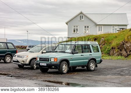 Stykkisholmur, Iceland - July 9, 2014: Legendary Land Rover Defender Suv Car In Stykkisholmur City O