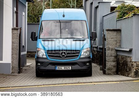Odry, Czech Republic - October 7, 2020: Frontal Part Of Blue Mercedes-benz Sprinter Commercial Van W