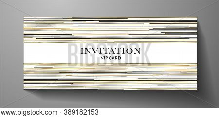 Premium Invite Vip Card Template With Gold, Silver, Black Horizontal Line Pattern On Background. Del