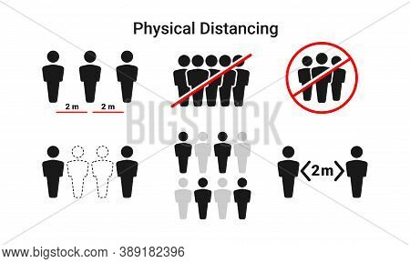 A Collection Of Simple Vector Illustrations Of Physical Distancing To Prevent Transmission Of The Co