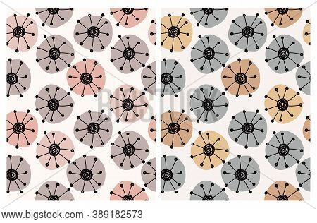 Cute Floral Seamless Vector Patterns With Hand Drawn Pink, Brown, Gold And Gray Flowers Isolated On