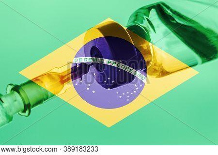 Brasil Vaccination, Coronavirus, Covid-19,sars-cov-2, Brasil Flag, Vaccine Vial Dose, Needle Syringe