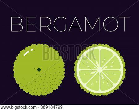 Vector Of Bergamot And Sliced Half Of Bergamot On Dark Background