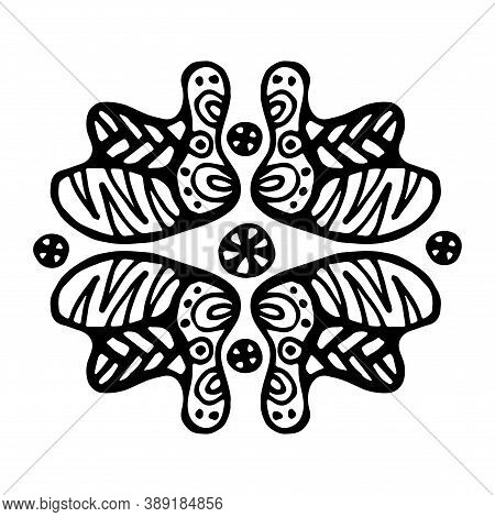 Isolated Black And White Flower Consisting Of Doodle Elements. Striped, Rounded Shapes, Dots And Lin