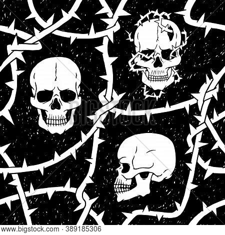 Human Skulls And Thorns Branches Seamless Pattern. Horror Mystic Halloween Vector Black White Backgr