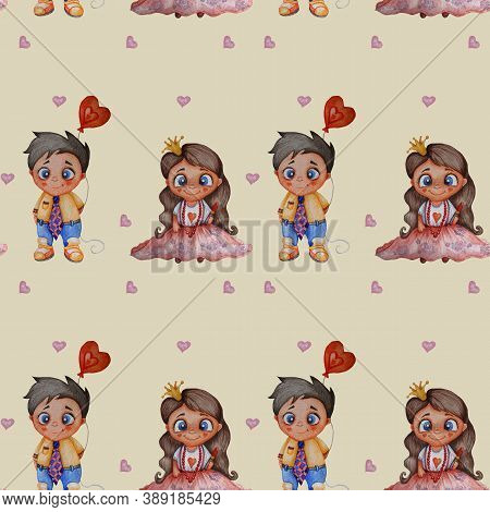 Cute Kids Collection. Seamless Patterns. Couple In Love. Playful Baby Princess With Long Hair And Li