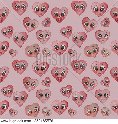 Heart Seamless Pattern. Cute Different Hearts With Faces, Hands And Emotions - Happiness, Surprise,