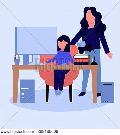 Mom Checks Homework Of Daughter. Vector Illustration In Flat Style.  Studying Remotely