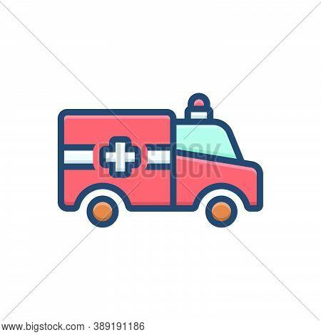 Color Illustration Icon For Ambulance Emergencies Exigency Necessity Rescue Transportation Paramedic