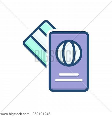 Color Illustration Icon For Card Immigration Citizenship Foreign Passport