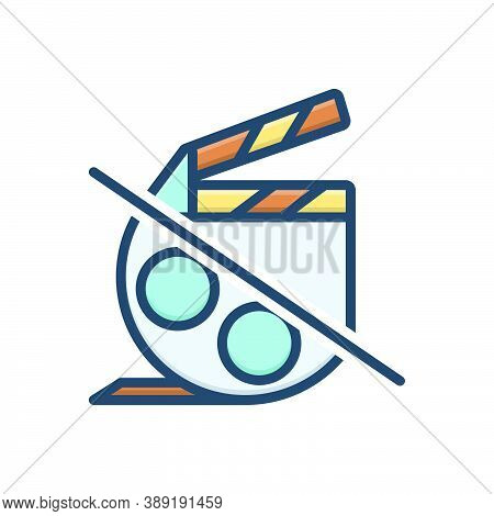 Color Illustration Icon For Film Movie Cinema Video Cinematography Clapboard Video-reel Technology E