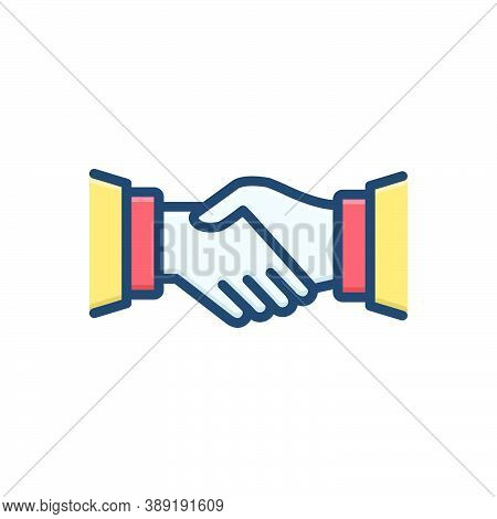 Color Illustration Icon For Handshake Partnership Collaboration Complicity Copartnership Teamwork Ag
