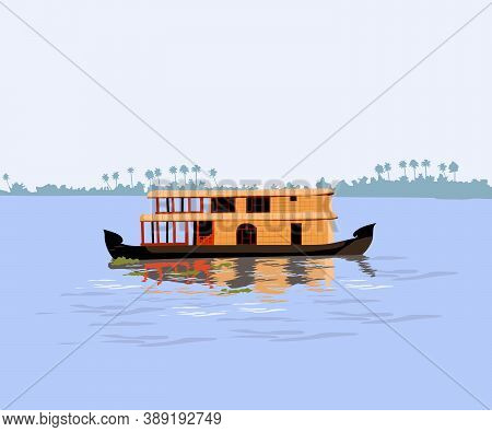 Kerala In South India House Boat In Backwater Vector