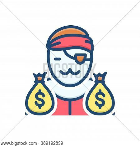 Color Illustration Icon For Notorious Gangster Loot Cash Wage Thief Robber