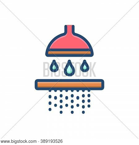 Color Illustration Icon For Permeate Percolate Seep Water Shower Bath-shower