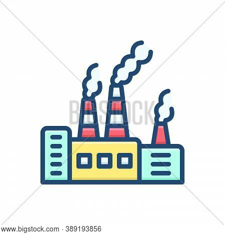 Color Illustration Icon For Pollutant Polluted Toxic Environmental Carcinogen Chemicals Factory Poll