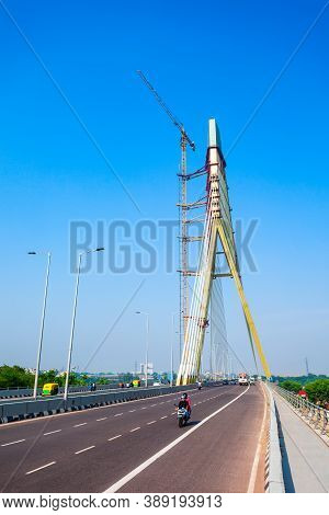 New Delhi, India - October 06, 2019: Signature Bridge Is A Cantilever Spar Cable Stayed Bridge Throu