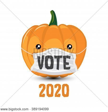 Vote 2020 - vector illustration with cute pumpkin wearing face mask. Hand drawn lettering quote. Kawaii happy Halloween cartoon pumpkin. Go vote 2020 text for presidential Election of USA Campaign.