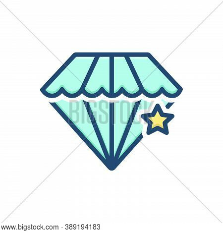 Color Illustration Icon For Pawnshop Diamond Jewellery Ornament Accuracy Shining