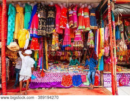 Delhi, India - September 20, 2019: Small Shop With Indian Colorful Dresses In Delhi