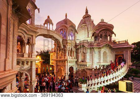 Vrindavan, India - September 20, 2019: Sri Krishna Balaram Mandir Is A Gaudiya Vaishnava Temple In T
