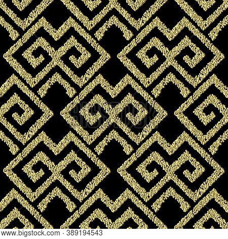 Textured Geometric Gold Seamless Pattern. Grunge Stippled Abstract Backdround. Repeat Vector Tribal