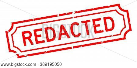 Grunge Red Redacted Word Rubber Seal Stamp On White Background
