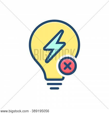 Color Illustration Icon For Outage Electricity Power Flash Charge Energy Voltage Thunder Discharge Z