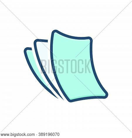 Color Illustration Icon For Paperless Cardboard Disposable Insubstantial Paper-thin Papery Wafer-thi
