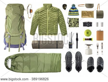 Flat Lay Of Camping Equipment And Trekking Clothes Isolated On White Background. Top View Of Shoes A