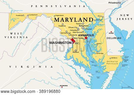 Maryland, Md, Political Map. State In The Mid-atlantic Region Of The United States Of America. Capit