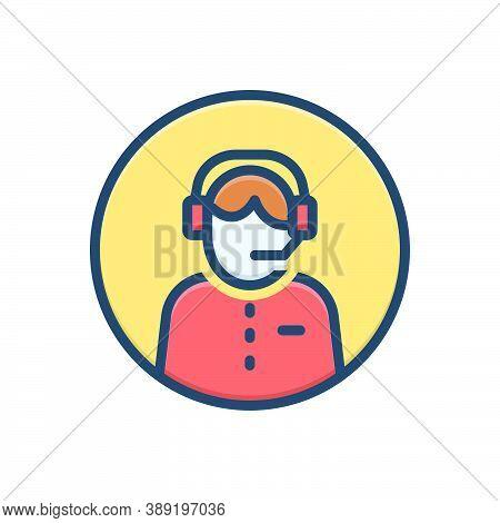 Color Illustration Icon For Customer-service Headset Call-center Helpline Operator Consultant Telema