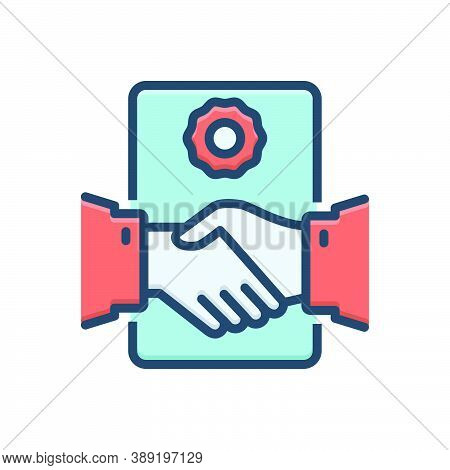Color Illustration Icon For Deal-agreement Handshake Partnership Collaboration Complicity Copartners