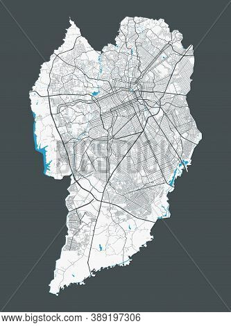 Curitiba Map. Detailed Map Of Curitiba City Administrative Area. Cityscape Panorama. Royalty Free Ve