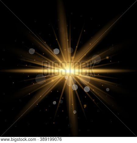 Star Burst With Sparkles. Set Of Yellow  Glowing Light Explodes On A Black Background. Sparkling Mag
