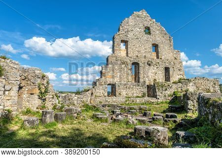 Ruins Of Hohenurach Castle In Countryside Near Old Town Of Bad Urach, Germany. Landscape With Abando
