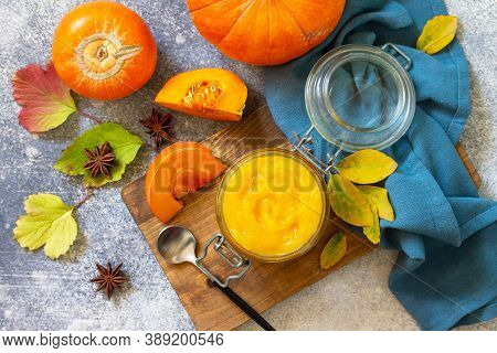 Autumn Pumpkin Meals For Thanksgiving Day. Pumpkin Puree On A Slate Background. Top View Flat Lay Ba